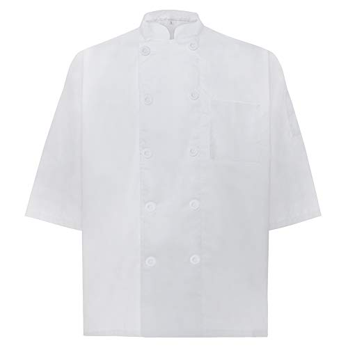 - TOPTIE Unisex Short Sleeve Chef Coat Jacket, White