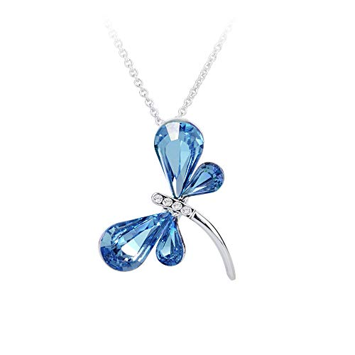 """Rosny Jewelry """"Dragonfly"""" Necklace Created Aquamarine Color Swarovski Crystals (Rhodium Plated, 17 3"""" Extension, Lobster-Claw (Rhodium Plated Lobster Clasp)"""