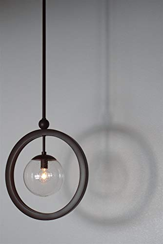 Kira Home Lucia 14.5 Modern Ring Pendant Light Seeded Glass Orb, Adjustable Height, Oil Rubbed Bronze Finish