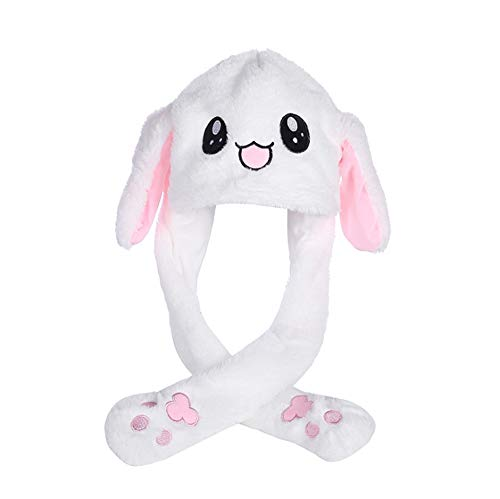 t/Funny Rabbit Plush Hat with Moving Ears When Pressing The Paws (White) ()