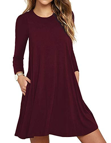 (Women's Casual Plain Simple T-Shirt Loose Pocket Dress with Pockets Wine Red Small)
