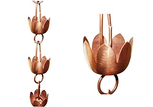 U-nitt 8-1/2 feet Pure Copper Rain Chain for Gutter: (Lily 1) Lotus Cup 8.5 ft Length #5225