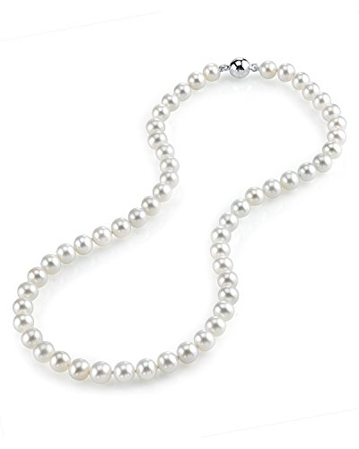 "THE PEARL SOURCE 7-8mm AAA Quality Round White Freshwater Cultured Pearl Necklace for Women with Magnetic Clasp in 24"" Matinee Length"