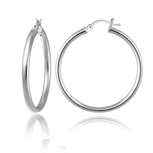 3mm Large Hoop Earrings - 925 Sterling Silver Tube Hoop Earrings- 3MM 4MM 5MM Silver Hoop Earrings, Round Hoop Earrings