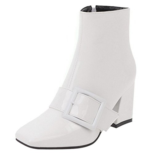 Side with White Medium Heel Block 13 Buckle Women Fashion Boots Zip Coolcept Ankle zF4q0q