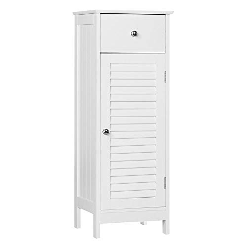 Not Unit Single Storage - Yaheetech Bathroom Floor Cabinet, Wooden Storage Organizer Unit, Free Standing with Drawer and Single Shutter Door, White
