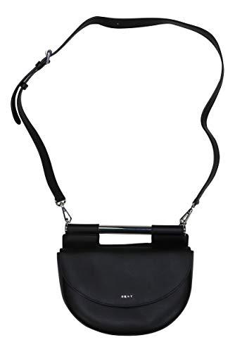 DKNY Ursa Genuine Leather Crossbody Saddle Bag Purse (Black)