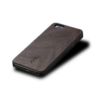 AViiQ Thin Wood Trim Case for iPhone 5 - Black with Walnut Wood