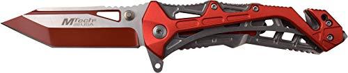 (MTECH USA MT-A997BRD Spring-Assisted Folding Knife, Black/Red)