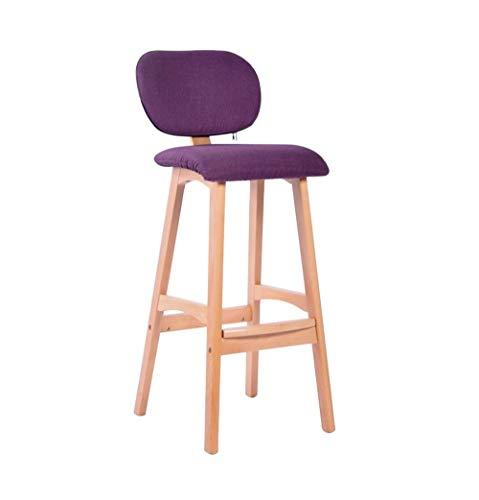 Barstol frukoststol massiv trästol | kökspallar | frukostbarstolar | barpubpallar | kontorsstolar | kaffepall | Högpall | med ryggstöd (storlek: 76 cm)