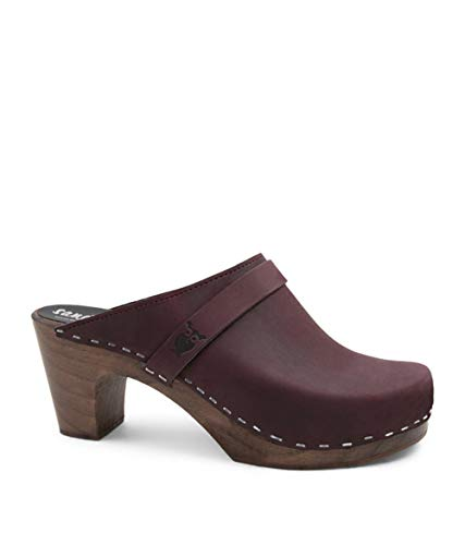 Plum Suede Leather - Sandgrens Swedish Clog Mules High Rise Wooden Heel for Women | Maya Plum DK, EU 40
