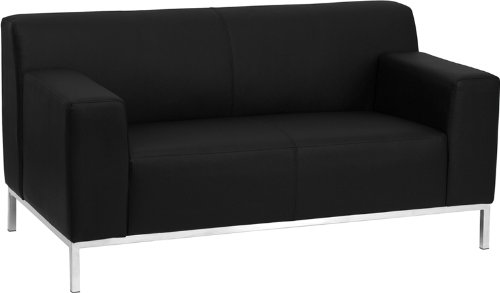 Flash Furniture HERCULES Definity Series Contemporary Black Leather Loveseat with Stainless Steel Frame (Steel Leather Loveseat)