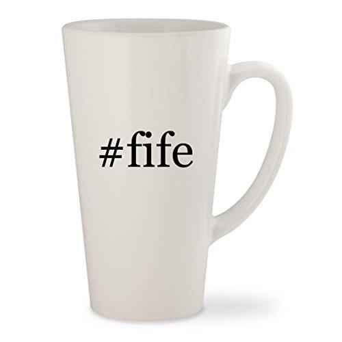 #fife - White Hashtag 17oz Ceramic Latte Mug Cup