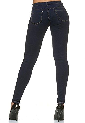 Pantalon skinny Stretch Couture Fonc Femmes Bleu Contraste D2225 Jeans ZwEtF