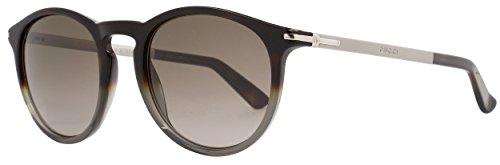 Gucci Round Sunglasses GG1110S M07S9 Dark Havana Shaded Gray - Frame Gucci Round Acetate Sunglasses