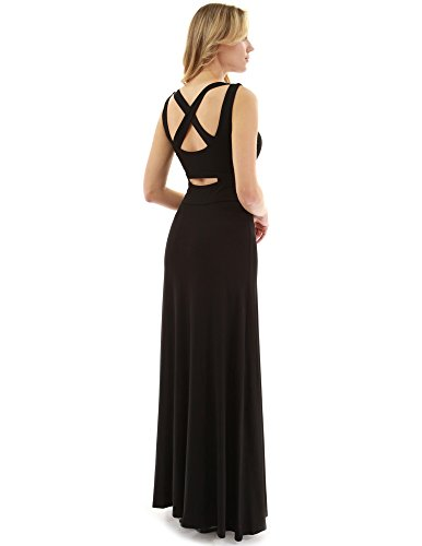 PattyBoutik Women's Criss-Cross Keyhole Back Maxi Dress (Black M) ()