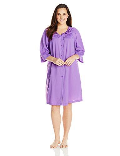 Shadowline Women's Plus-Size Petals 3/4 Sleeve 41 Inch Waltz Coat, Purple, 3X - Button Front 3/4 Length Coat