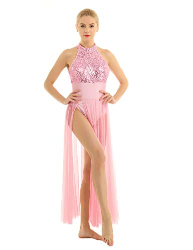 iEFiEL Women Adult Sleeveless Long Halter Sequined Dance Dress with Mesh Maxi Skirt Leotard Bodysuit Lyrical Dress Pink Medium (Dress Adult Halter Dance)