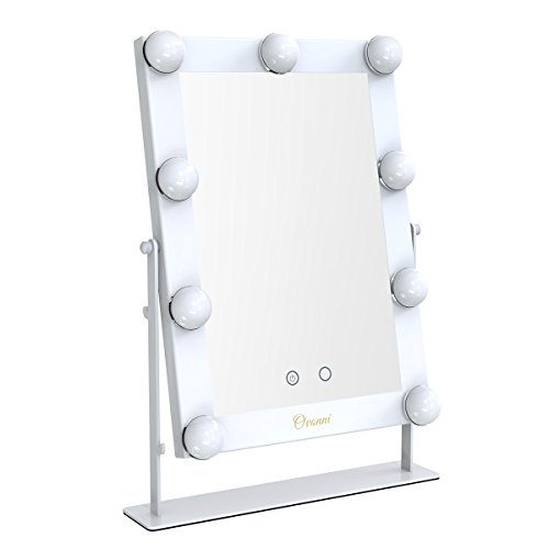 Ovonni Lighted Vanity Makeup Hollywood Mirror, Dimmable Tabletop Cosmetic Mirror with 9 LED Bulbs, Touch Control and USB Powered, Silver