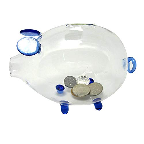 - Pursuestar Crystal Clear Glass Chubby Pig Piggy Bank Saving Money Box Coin Cashbox Birthday Gift Wedding Home Office Decor - Blue 15cm