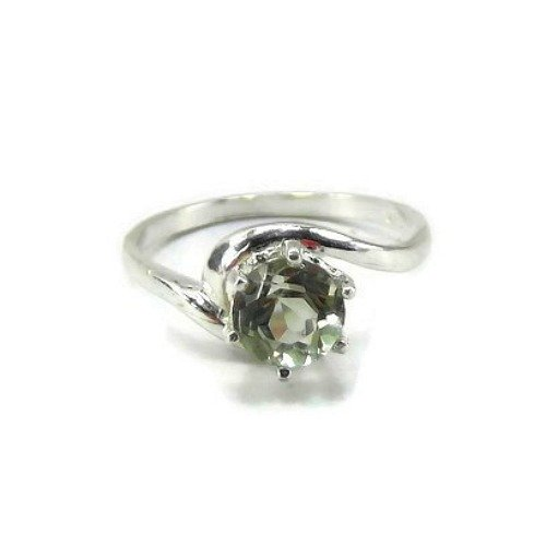 Green Amethyst Swirl Solitaire Ring ()