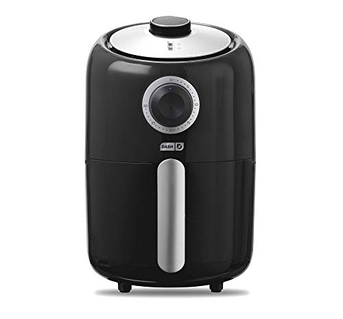 Dash Compact Air Fryer 1.2 L Electric Air Fryer Oven Cooker with Temperature Control, Non Stick Fry Basket, Recipe Guide + Auto Shut off Feature – Black (Renewed)