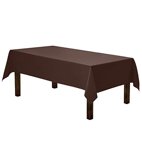 Gee Di Moda Rectangle Tablecloth - 60 x 84 Inch - Chocolate Rectangular Table Cloth for 5 Foot Table in Washable Polyester - Great for Buffet Table, Parties, Holiday Dinner, ()