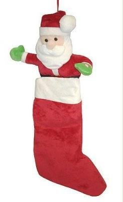 Russ Soft Plush Musical Santa Claus Christmas Stocking By