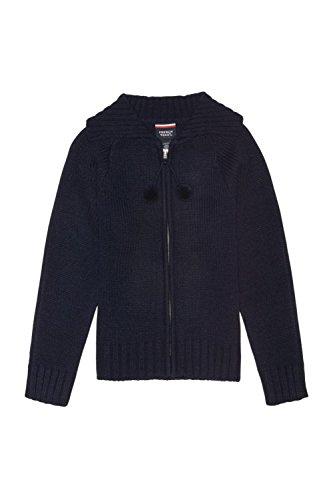 French Toast Big Girls' Pom Zip up Sweater, Navy, Large/10/12