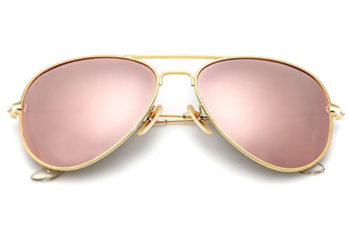 YuFalling Polarized Aviator Sunglasses for Men and Women (gold frame/pink lens, - Pink Sunglass