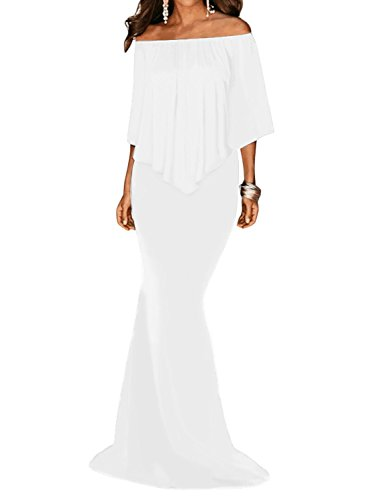 Sidefeel Women Off The Shoulder Ruffled Mermaid Maxi Party Dress X-Large - White Strapless Dress Summer