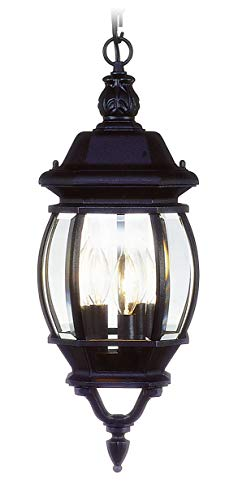 Livex Lighting 7527-04 Frontenac - Three Light Exterior Lantern, Black Finish with Clear Beveled Glass