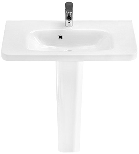 - CeraStyle 033300U-PED-One Hole Noura Rectangular Ceramic Pedestal Sink, White