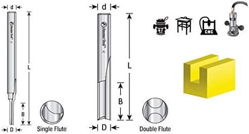 HSS1604 HSS Double Straight O Flute Plastic Cutting 1//4 Dia x 1 4 Amana Tool