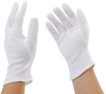 Incutex 1 par de guantes de tela de algodón, blancos, talla: M ...
