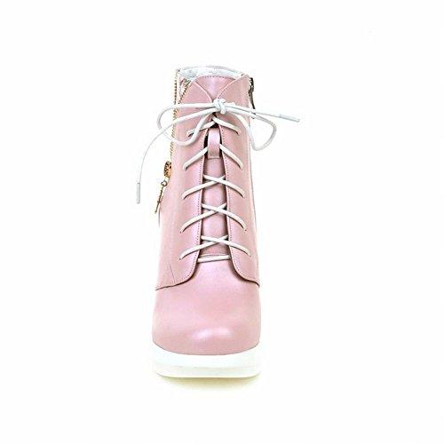 Charm Fot Kvinna Mode Blommig Snörning Kil Hög Klack Boots Rosa