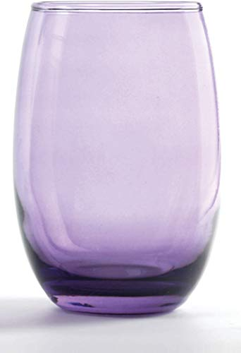 (Circleware Uptown Purple Stemless White Wine Glasses, Set of 4, 15)