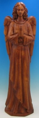 36 inch Outdoor Nativity Standing Angel - Wood Stain Finish