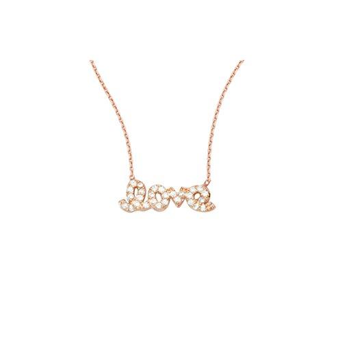 LOVE NECKLACE, 14KT GOLD & CZ NECKLACE 18'' INCHES by DiamondJewelryNY (Image #1)