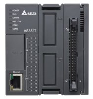 Delta AS332T-A AS300 CPU - 16 DI, 16 DO, NPN Sinking Outputs, Program capacity:128K steps, 6-axis high speed position output, 6 high speed counters, 1