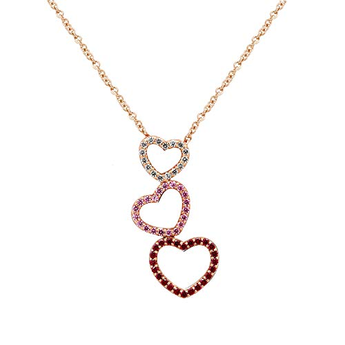 Swarovski Triple Strand Necklace - J'ADMIRE Rose Gold Plated Sterling Silver 0.4 ct Swarovski Zirconia Clear, Pink and Red Triple Heart Pendant Necklace, 18