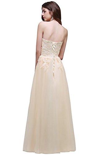Tuell 46 nbsp;Gr Spitze mit MisShow Beige 32 Elegant lang Damen Abendkleid Bandeau 2017 Partykleider Beige Applikation wPFxSOqI1x