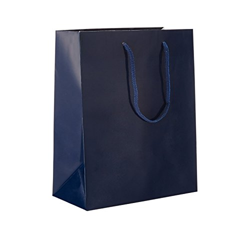 Prime Time Packaging Heavy Duty Standard Original Style Paper Tote Bag Set, Perfect for Gifts, Party, Baby Shower, Kid's Birthdays, Weddings, Lunch, Blue Navy, Pack of 100 ()