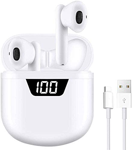 Bluetooth 5.2 Wireless Earbuds,Built-in Mic in-Ear HD Stereo Earbuds IPX7 Waterproof Sports Earbud [LED Display Charging Case],Auto Pairing for Earphones Apple Airpods iPhone/Android (White)