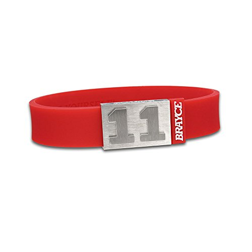 "fan products of BRAYCE Team Colors: Customize your jersey bracelet red with your player number (0-99) 7 sizes (6,3"" – 8,7""): Hockey, Baseball, Basketball & Football"