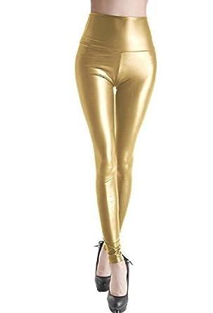 d225515d7342d Ladies Faux Leather Fashion Leggings (Small - Size 8, Gold): Amazon.co.uk:  Clothing