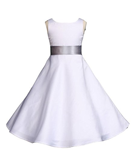 Wedding Pageant White A-Line Matte Satin Jr. Bridesmaid Flower Girl Dress