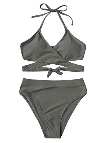 SOLY HUX Women's Halter Wrap Knotted Back Bikini Set Grey Print M