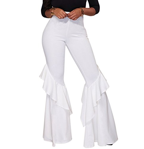GUOLEZEEV Women Comfy Chic Ruffle Flared Bottom Wide Leg Pants White L by GUOLEZEEV