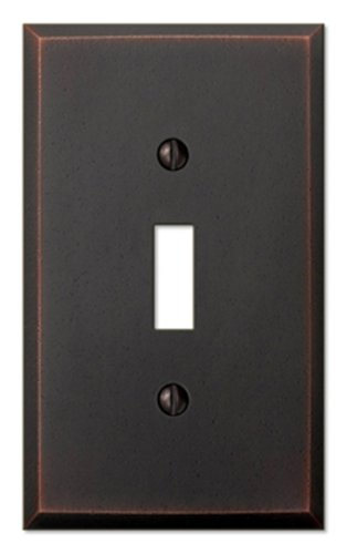 (Amerelle Manhattan Single Toggle Cast Metal Wallplate in Aged)